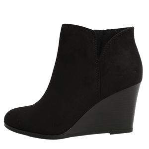 Black Faux Suede V cut Stacked Wedge Ankle Bootie